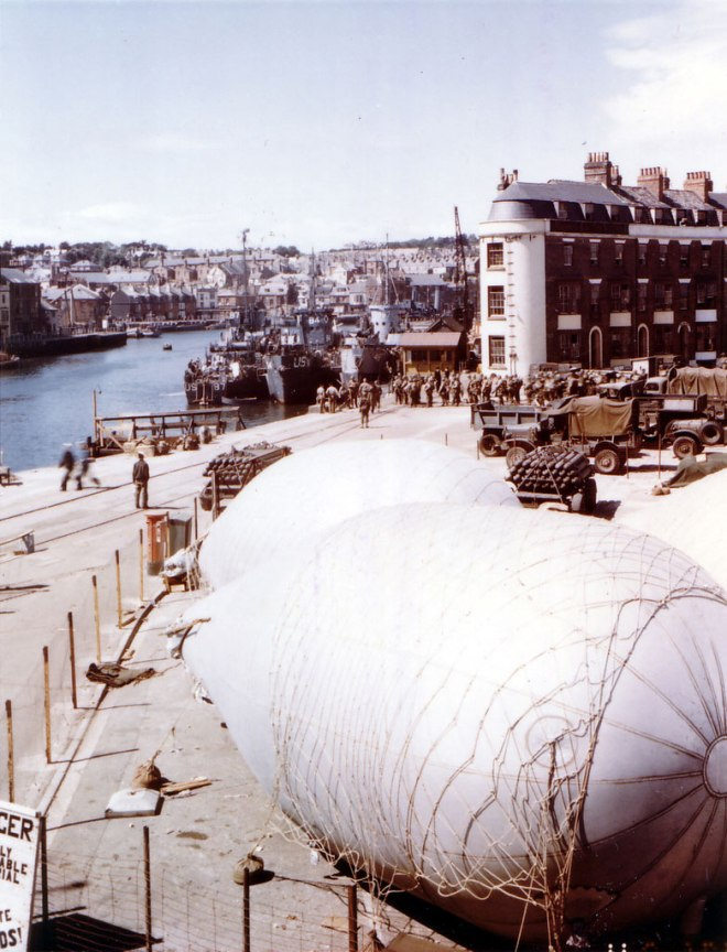 Barrage balloons in Weymouth prior to Overlord
