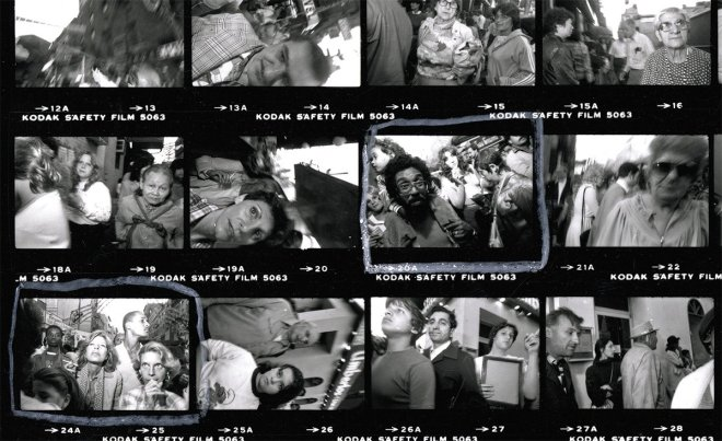 Contact sheet from Bruce Gilden.